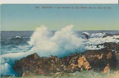 Les Rochers du Cap Martin France, early 1900's. (Bennydorm) Tags: rochers 20thcentury water leau tide sea ocean rocks breakers blue surf sky menton france capmartin postcard cartepostale europe mer cape 1900s