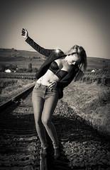 balancing act in bw (PKub) Tags: 2016 alexandra bild blau blue clothing clouds colors farben gegenstaende green grn haare hair haut himmel humanbody image jeans kleidung landschaft landscape model natur nature nikon objects photography pkub pkubimagesgmailcom photo photoshooting picture pkubimages railroad rails schatten schienen shadow sky time tracks wetter weather weiss white wolken blondhair blondeshaar peau people skin year bockenheimanderweinstrase rheinlandpfalz deutschland de
