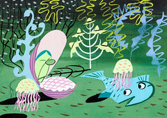 """Alice in Wonderland """"Bed of Oysters"""" concept art by Mary Blair (Tom Simpson) Tags: film illustration vintage disney animation oyster aliceinwonderland conceptart maryblair oysterbed bedofoysters"""