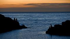 Night fishing (Anders_3) Tags: sele klepp rogaland norge norway selestranden pier northsea nordsjen nikond700 night nature sea fishing silhouette sunset blue explore