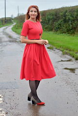 Red fit and flare dress, patterned tights (Not Dressed As Lamb) Tags: christmas red fashion dress style blogger retro flare fashionista fit