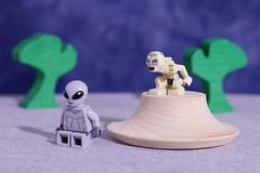 Gollum has a bead on the alien (Busted.Knuckles) Tags: home fun lego alien gollum minifigures pentaxks2 camerautility5