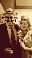 Photo Booth Fun (Bubash) Tags: party people holiday sepia booth festive happy photo photobooth phone shot post sunday cell coworkers holidayparty alcohol processing props sliders hss