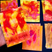 Papers pintats amb títol manuscrit, obra art original de Ferran Cerdans Serra