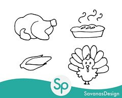 Thanksgiving Clipart (savanasdesign) Tags: thanksgiving clipart doodles coloring turkey pie pilgrim indian corn clip art decor decoration placemats crafts digital download etsy etsyseller
