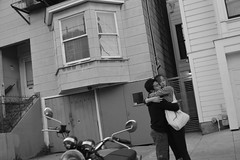 embrace (trouws) Tags: street photography san francisco california couple girl boy man woman hug embrace intimate candid moment love black white