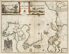 A map of the North-Pole and the parts adioining (Toronto Public Library Special Collections) Tags: map northpole mosespitt whalehunting novazembla bow spears seal puffin coatofarms colour child family hunter