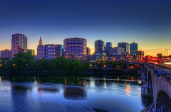 Hartford: Skyline, Bulkeley Bridge & Connecticut River sunset (cmfgu) Tags: hartford connecticut ct hartfordcounty skyline bulkeleybridge connecticutriver sunset color sky twilight dusk hdr highdynamicrange