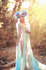 Gilded Garden (Kelly McCarthy Photography) Tags: woman model beautiful beauty fashion style blonde headdress gold golden bodysuit pose light naturallight ethereal fantasy flowers floral floralcrown floralheaddress makeup fairytale forest woods outdoors purple blue teal bokeh catchycolorsyellow catchycolorsgold catchycolorspurple catchycolorsblue