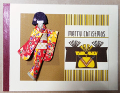 Christmas card 10_2016 (tengds) Tags: christmascard card handmadecard brown yellow stripes white presents gifts japanesepaperdoll washidoll origamidoll ningyo geisha japanese asian kimono red orange gold obi japanesepaper yuzenwashi washi chiyogami nailart papercraft tengds
