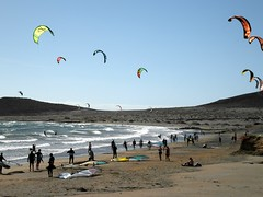 It's Windy Out There. (Flyingpast) Tags: wb2000 tl350 el medano tenerife canaryislands kitesurfing spain sunny beach sun sea sand fun people public waves shore seaside vacation holiday sport