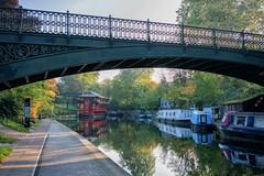 (DeepSane) Tags: london regentscanaltowpath fengchangprincess floatingchinesepagodarestaurant boats narrowboats reflections bridge