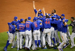The Cubs celebrate after winning the 2016 World Series. (apardavila) Tags: postseason wordseries baseball chicagocubs majorleaguebaseball mlb progressivefield sports worldseries