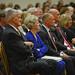 Gen. Hugh Shelton listens to alumnus Andy Albright speak during the Shelton Leadership Forum in the McKimmon Center.