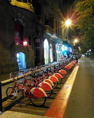 barcelona sleeping bicycles (kexi) Tags: barcelona catalonia spain europe vertical night bicycles row colors red street samsung wb690 september 2015 lights perspective empty painterly instantfave