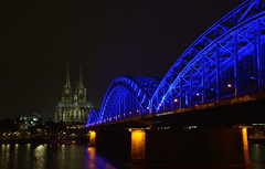 blue hohenzollern bridge (joachim.d.) Tags: cologne kln dom europa europe cathedral blue bluebridge hohenzollernbrcke hohenzollernbridge rhein rhine