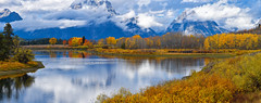 Oxbow Bends, Grand Teton (MarkWarnes) Tags: bluesky autumn grandteton nationalpark aspen grandtetons grandtetonsnationalpark reflection snakeriver jacksonhole trees water fall grandtetonnationalpark wyoming