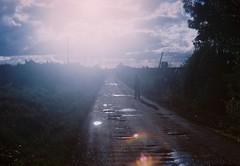 Near my neighborhood. (Hijo de la Tierra.) Tags: analog film 35mm nikkormat fuji superia expired sun winter light blur landscape path uruguay progreso canelones guy vastness countryside nature