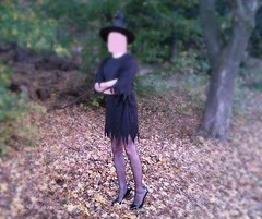 the witch (h_lover1984) Tags: man mann boy witch hexe costume kostm black schwarz heels pumps stckelschuhe strumpfhose outdoor halloween