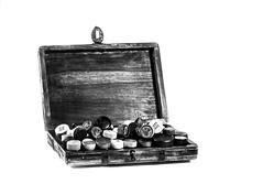 So many heads... (Kinseri) Tags: wooden box chest cork cap whiskey whisky bottle happyhour flickrfriday blackwhite bw highkey blackandwhite canon 6d sigma 70200mm