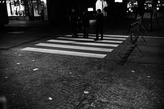 Stripes (stefankamert) Tags: stefankamert street city town stripes crossing black blackandwhite blackwhite schwarzweis people highcontrast night sony sonya7 ilce7 a7 voigtlnder nokton fullframe textures texturen mirrorless primelens manualfocus alienskin exposure lights noir noiretblanc monochrome