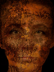 Treeing (signe_ulstrup) Tags: mashup abstract surreal tree texture magical fantastical fantasy mystic face mix trunk treetrunk complex intricate lines layers photoshop gimp edited golden gold dark brown orange saturation crack cracks portrait selfportrait