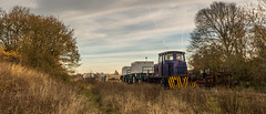 Nuclear Flask wagons being shunted into formation at W H Davis Ltd (Shirebrook) on 30-11-2016 (kevaruka) Tags: shirebrook mansfieldwoodhousestation mansfield nottinghamshire derbyshire whdavis class37 37716 trains train transport railway colour colours blue yellow green red bridge drs directrailservices networkrail britishrail historic classic heritage history englishelectric england autumn 2016 november canon canoneos5dmk3 canon5dmk3 canonef1635f28mk2 did uwa ultrawideangle 5d3 5diii 5d 5dmk3 outdoor telephototrains kevinfrost photography eos