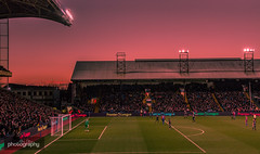 Sunset over South London (Alex Chilli) Tags: crystalpalace football club fc london south sunset stands seats people crowds goal players goalkeeper sky red blue canon eos 70d sigma 18250