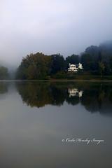 Stillness (Carlie Hensley) Tags: morning autumn trees houses light ohio red orange mist green water yellow fog sunrise reflections river landscapes mood westvirginia