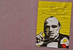 i'll make you an oeuf (armykat) Tags: streetart canada sticker quebec montreal urbanart publicart slap godfather slaptag themontrealinvasionof2015 illmakeyouanoeuf