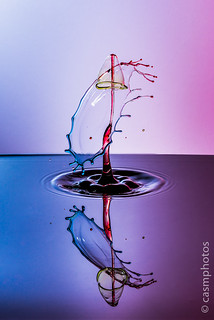 Splash Art. Water drop collision photo. Double drop impact shot.