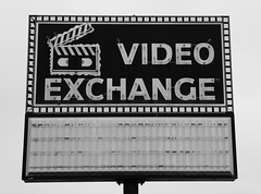 Video Exchange Neon Sign - Columbia, IL_P1260131c (Wampa-One) Tags: blackandwhite abandoned vacant neonsign outofbusiness videostore vhstape columbiail videoexhange
