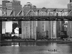 Story Bridge (Petra Ries Images) Tags: street city bridge blackandwhite bw water skyscraper buildings river wasser streetphotography brisbane stadt architcture architektur monochrom brcke fluss brisbaneriver gebude towerblock brisbanecity multistory multistorey rowers eisenbahnbrcke rudern storeybridge hochhuser ruderer einfarbig schwarzweis highrisebulding