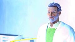 215 (Beth Amphetamines) Tags: blue wallpaper white green hair sweater screenshot eyes lab coat gray piercing institute utopian scifi inside utopia futuristic ashen fallout4