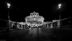 Rom Engelsburg Nacht 3 b&w (rainerneumann831) Tags: bernini blackwhite brcke engelsburg nachtstimmung nachtszene rom