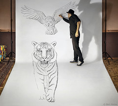 Pencil Vs Camera 74 - Making 1 (Ben Heine) Tags: makingof pencilvscamera art 3d benheine drawing dessin studio tiger anamorphosis anamorphose illusion animal sketch giant benheineart