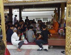 praying with a monk (the foreign photographer - ) Tags: oct162016sony monk people praying making offerings wat prasit mahthat bangkhen bangkok thailand sony rx100