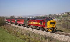 37408 Pontlottyn 02042005 (Waddo's World of Railways) Tags: class37 welshvalleys valleylines 37 37408 lochrannoch ews 408 train railway loco locomotive tractor growler syphon locohauled valleys welsh wales virgin coaches rail