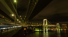 Double Decks (elenaleong) Tags: rainbowbridge shibaurapier minato tokyobay nightlight illuminations elenaleong suspensionbridge doubledecks trails