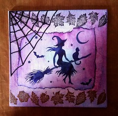 Another Spooky make (CraftyBev) Tags: dt make halloween witch cobweb diecut stamping
