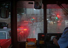 """""""rainy days"""" (hugo poon - one day in my life) Tags: xt2 23mmf2 hongkong queensway tram rainy colours driver"""