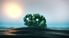 Mandelmonsterbaby (eXalk) Tags: organic monster art abstract alien ocean fog digital dream sun mandelbulber fantasy fractal render reflection water