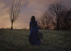 The Last Voyage (misa.stahlova) Tags: 365 365project conceptual imaginative fineart blue pink suitcase voyage sureal portrait selfportrait bluedress old meadiw hill outdoor naturallight woman 50mm