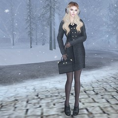#57 Baby if you want me then you better need me (Violet Batriani) Tags: secondlife secondlifefashion winter coat tights bag purse black brown earmuffs gloves