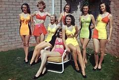 Ladies' Swimwear c.1954 (lynn_morton3500) Tags: swimwear bathingcostume 1950s 1954 ladies blonde brunette redhead grass summer summertime retro vintage