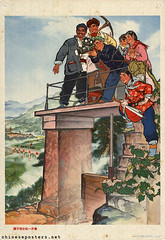 Not ready with filming a slice of spring in the commune (chineseposters.net) Tags: china poster chinese propaganda 1974 commune agriculture film cameraoperator cameraman peasant irrigation sluice pickaxe