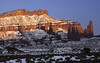 Mudstone in the Gloaming (courtney_meier) Tags: coloradoplateau fishertowers landscape moab utah winter desert desertsnow evening magichour mudstone redrockcountry redrocks snow snowscape sunset