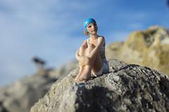 skinny girl on the rocks (Mark Rigler UK) Tags: skinny thin blue ball bathing hat sky rock sea