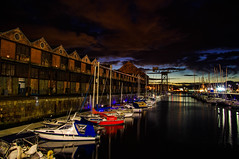 The Sugar Sheds and James Watt Marina (Brian Travelling) Tags: architecture architectural alisted listedbuilding tateandlyle greenock sugarsheds yachts crane titan reflection water jwd jwdmarina jameswattdock night nightshoot inverclyde scotland scenic scottish colours firthofclyde riverclyde river reflections reflecting historic interesting landscape outdoor outdoors outside pentaxkr pentax pentaxdal peaceful tranquil tranquility transport unitedkingdom uk urban vibrant vessel westofscotland