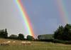 A Pot of Gold (Dreamsmitten) Tags: trees field grass rainbow colours sheep hedge legend pinkandblue potofgold purpleandgreen redandyellow rainbowend